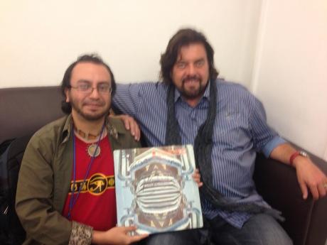 El músico e ingeniero de sonido: Alan Parsons y Sergio Lugo, 2014.