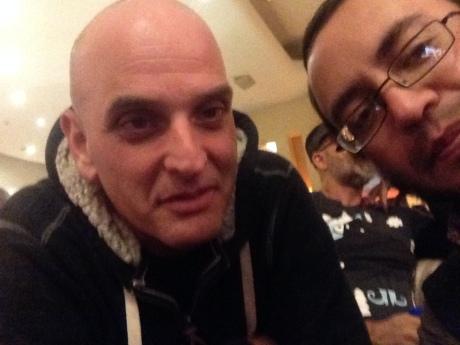 El bajista Guy Erez de la banda de Alan Parsons, con Sergio Lugo, 2014.