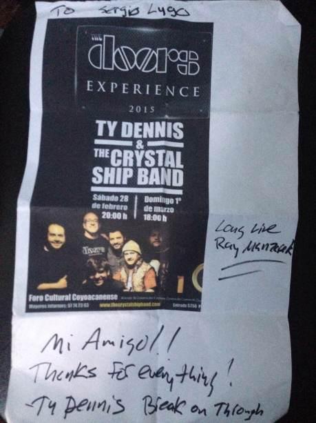 Autógrafo de Ty Dennis para Sergio Lugo.