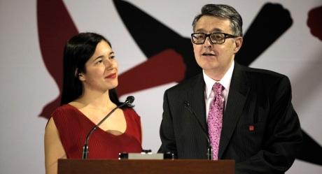 Suárez del Real, juarista y conciliador. Foto de Internet. En la imagen con Eva Sangiorgi.