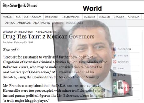 """Publicación del diario """"The New York Times"""" donde acusa a Beltrones de estar ligado con el narcotráfico. Imagen tomada de Internet."""