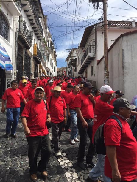 Marcha del 30 de julio del 2015. Por 8 años de huelga del Sindicato Minero de Taxco. Foto: Sergio Lugo.