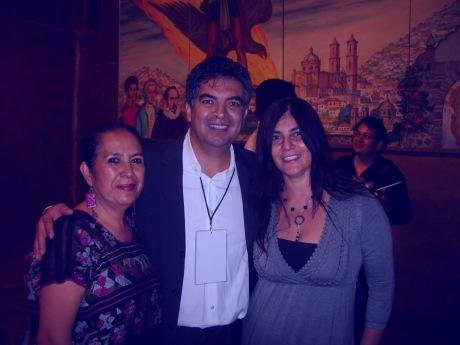 Rosario Cambray, Juan Carlos Laguna y Sofía Rulloni (al fondo César Lara), en el festival de guitarra de Taxco, julio del 2013. Foto: Sergio Lugo.